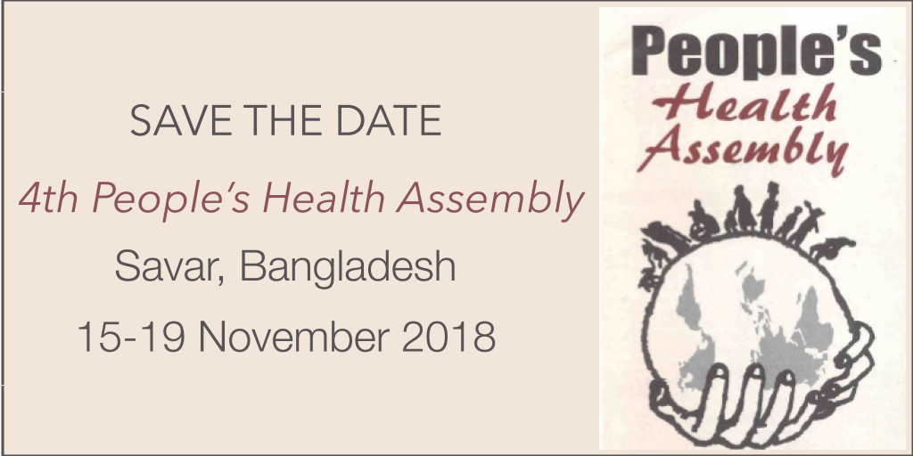 Save the date: 4th People's Health Assembly