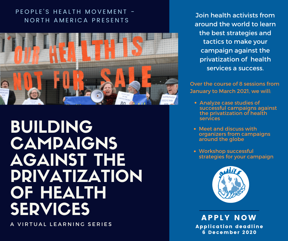 (English) Building Campaigns Against Privatization of Health Services – A virtual learning series