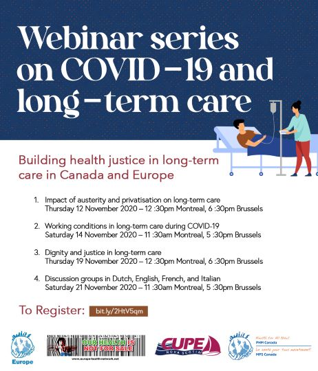 Webinar Series: COVID19 and long-term care – building health justice in Canada and in Europe